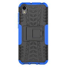 Funda Bumper Silicona y Plastico Mate Carcasa con Soporte para Huawei Enjoy 8S Azul