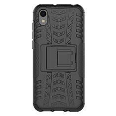 Funda Bumper Silicona y Plastico Mate Carcasa con Soporte para Huawei Enjoy 8S Negro