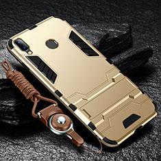 Funda Bumper Silicona y Plastico Mate Carcasa con Soporte para Huawei Enjoy 9 Plus Oro