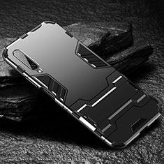 Funda Bumper Silicona y Plastico Mate Carcasa con Soporte para Huawei Honor 9X Pro Negro