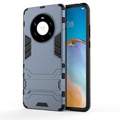 Funda Bumper Silicona y Plastico Mate Carcasa con Soporte para Huawei Mate 40 Pro+ Plus Azul
