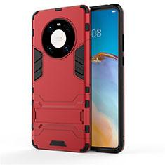 Funda Bumper Silicona y Plastico Mate Carcasa con Soporte para Huawei Mate 40 Rojo