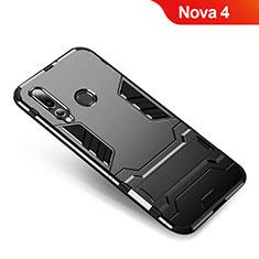Funda Bumper Silicona y Plastico Mate Carcasa con Soporte para Huawei Nova 4 Negro