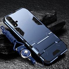 Funda Bumper Silicona y Plastico Mate Carcasa con Soporte para Huawei Nova 5 Pro Azul