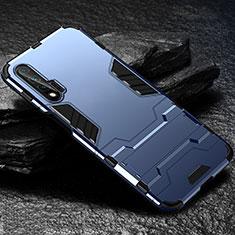 Funda Bumper Silicona y Plastico Mate Carcasa con Soporte para Huawei Nova 6 5G Azul