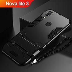 Funda Bumper Silicona y Plastico Mate Carcasa con Soporte para Huawei Nova Lite 3 Negro