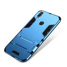 Funda Bumper Silicona y Plastico Mate Carcasa con Soporte para Huawei P Smart+ Plus Azul