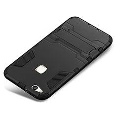 Funda Bumper Silicona y Plastico Mate Carcasa con Soporte para Huawei P10 Lite Negro