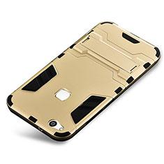 Funda Bumper Silicona y Plastico Mate Carcasa con Soporte para Huawei P10 Lite Oro