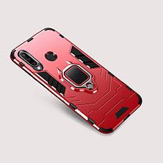 Funda Bumper Silicona y Plastico Mate Carcasa con Soporte para Huawei P30 Lite XL Rojo