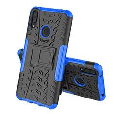 Funda Bumper Silicona y Plastico Mate Carcasa con Soporte para Huawei Y7 Pro (2019) Azul