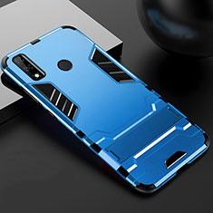 Funda Bumper Silicona y Plastico Mate Carcasa con Soporte para Huawei Y8s Azul