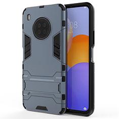 Funda Bumper Silicona y Plastico Mate Carcasa con Soporte para Huawei Y9a Azul