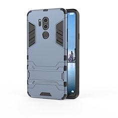 Funda Bumper Silicona y Plastico Mate Carcasa con Soporte para LG G7 Azul