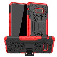 Funda Bumper Silicona y Plastico Mate Carcasa con Soporte para LG G8X ThinQ Rojo