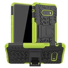 Funda Bumper Silicona y Plastico Mate Carcasa con Soporte para LG G8X ThinQ Verde