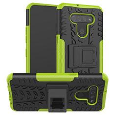 Funda Bumper Silicona y Plastico Mate Carcasa con Soporte para LG K51 Verde