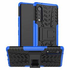 Funda Bumper Silicona y Plastico Mate Carcasa con Soporte para LG Velvet 4G Azul