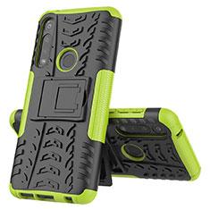 Funda Bumper Silicona y Plastico Mate Carcasa con Soporte para Motorola Moto G Power Verde