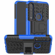 Funda Bumper Silicona y Plastico Mate Carcasa con Soporte para Motorola Moto G8 Plus Azul