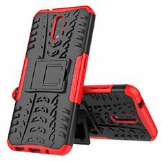 Funda Bumper Silicona y Plastico Mate Carcasa con Soporte para Nokia 2.3 Rojo