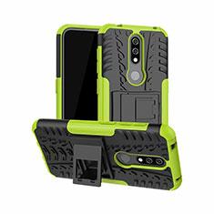 Funda Bumper Silicona y Plastico Mate Carcasa con Soporte para Nokia 4.2 Verde