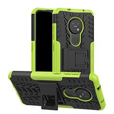 Funda Bumper Silicona y Plastico Mate Carcasa con Soporte para Nokia 7.2 Verde