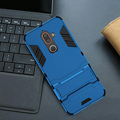 Funda Bumper Silicona y Plastico Mate Carcasa con Soporte para Nokia 7 Plus Azul