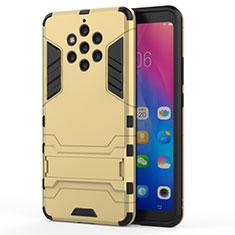 Funda Bumper Silicona y Plastico Mate Carcasa con Soporte para Nokia 9 PureView Oro