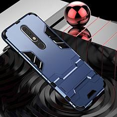 Funda Bumper Silicona y Plastico Mate Carcasa con Soporte para Nokia X5 Azul