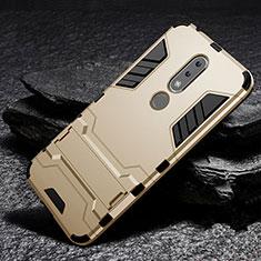 Funda Bumper Silicona y Plastico Mate Carcasa con Soporte para Nokia X6 Oro