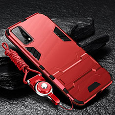Funda Bumper Silicona y Plastico Mate Carcasa con Soporte para Oppo K7x 5G Rojo
