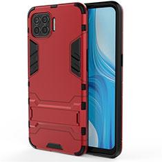 Funda Bumper Silicona y Plastico Mate Carcasa con Soporte para Oppo Reno4 Lite Rojo