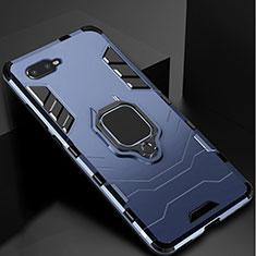 Funda Bumper Silicona y Plastico Mate Carcasa con Soporte para Oppo RX17 Neo Azul