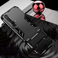 Funda Bumper Silicona y Plastico Mate Carcasa con Soporte para Realme X3 SuperZoom Negro