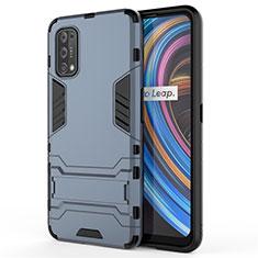 Funda Bumper Silicona y Plastico Mate Carcasa con Soporte para Realme X7 Pro 5G Azul