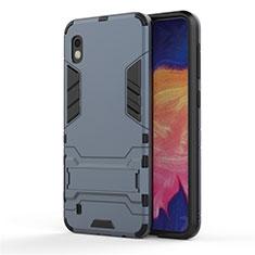 Funda Bumper Silicona y Plastico Mate Carcasa con Soporte para Samsung Galaxy A10 Azul