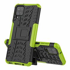 Funda Bumper Silicona y Plastico Mate Carcasa con Soporte para Samsung Galaxy A12 Verde