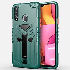 Funda Bumper Silicona y Plastico Mate Carcasa con Soporte para Samsung Galaxy A20s Verde