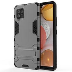 Funda Bumper Silicona y Plastico Mate Carcasa con Soporte para Samsung Galaxy A42 5G Gris
