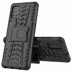 Funda Bumper Silicona y Plastico Mate Carcasa con Soporte para Samsung Galaxy A51 4G Negro