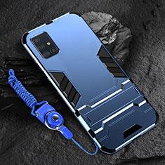 Funda Bumper Silicona y Plastico Mate Carcasa con Soporte para Samsung Galaxy A71 5G Azul