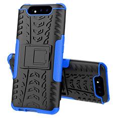 Funda Bumper Silicona y Plastico Mate Carcasa con Soporte para Samsung Galaxy A80 Azul