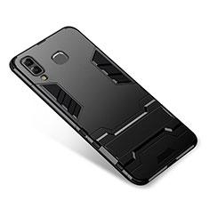 Funda Bumper Silicona y Plastico Mate Carcasa con Soporte para Samsung Galaxy A9 Star SM-G8850 Negro