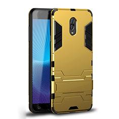 Funda Bumper Silicona y Plastico Mate Carcasa con Soporte para Samsung Galaxy C8 C710F Oro