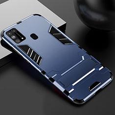 Funda Bumper Silicona y Plastico Mate Carcasa con Soporte para Samsung Galaxy M21s Azul
