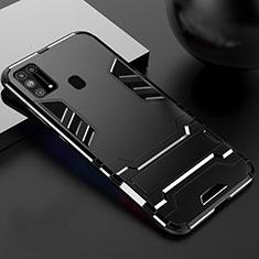 Funda Bumper Silicona y Plastico Mate Carcasa con Soporte para Samsung Galaxy M31 Negro
