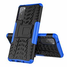 Funda Bumper Silicona y Plastico Mate Carcasa con Soporte para Samsung Galaxy S20 FE 5G Azul
