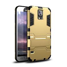 Funda Bumper Silicona y Plastico Mate Carcasa con Soporte para Samsung Galaxy S5 Duos Plus Oro