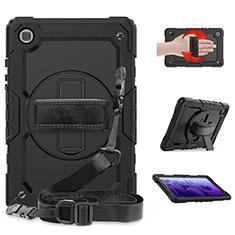Funda Bumper Silicona y Plastico Mate Carcasa con Soporte para Samsung Galaxy Tab A7 4G 10.4 SM-T505 Negro